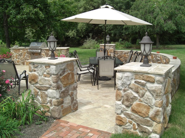 Natural Stone Pillars Caps : Natural stone pillar caps hardscaping bucks county pa