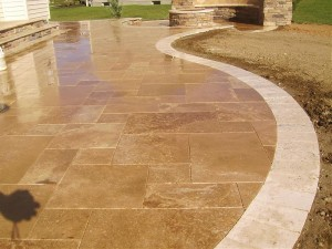 Travertine Patio 300x225 Hardscaping Projects:  Understanding Patio Materials