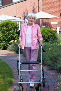 Senior Woman on Hardscape Walkway