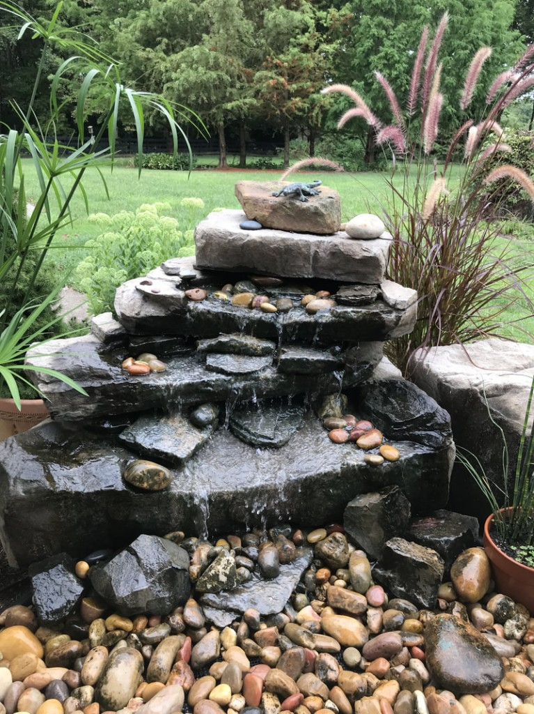 pondless waterfall made with different sizes of stones